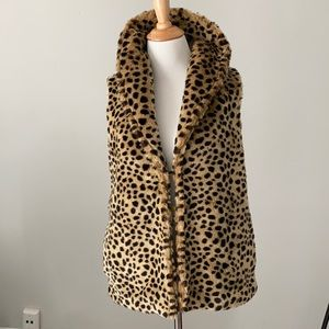 Tulle for Anthropologie Leopard faux fur Vest  XS